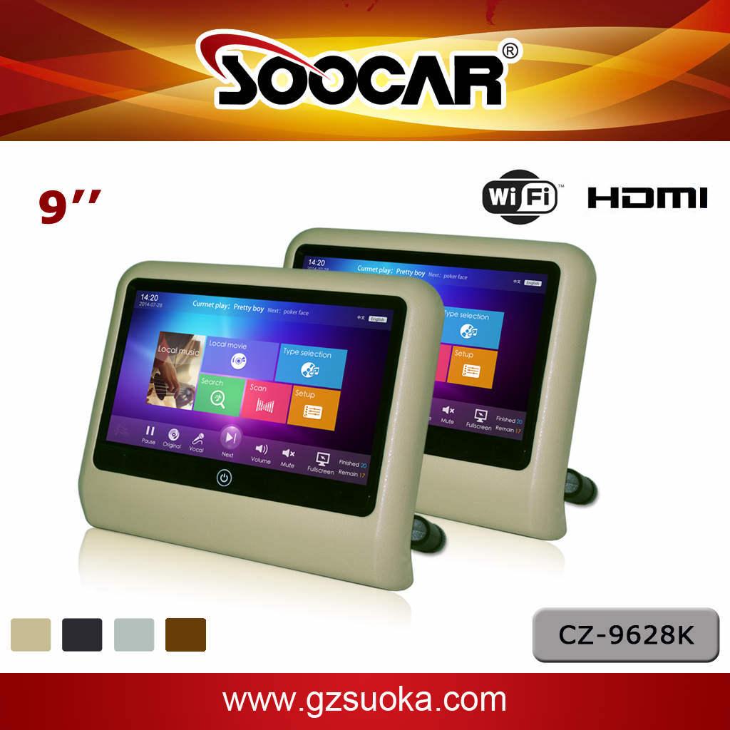 9 pouces TFT-LCD moniteur avec appui-tête de voiture dans la voiture Android Système de divertissement de karaoké