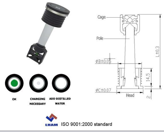 Presione en el tipo polo Cone-Shaped Indicador de batería con una bola de 2009b201