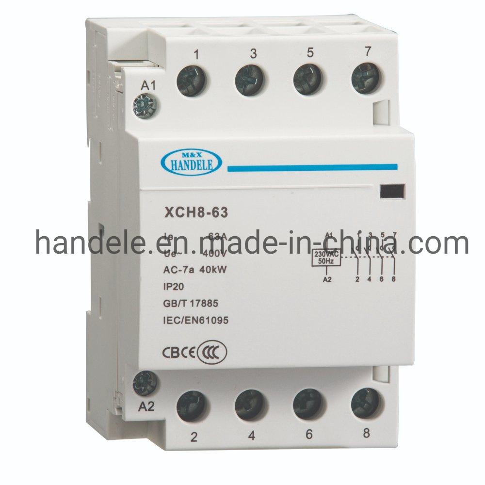 63Un contactor AC Modular en carril DIN de 4 polos contactor magnético