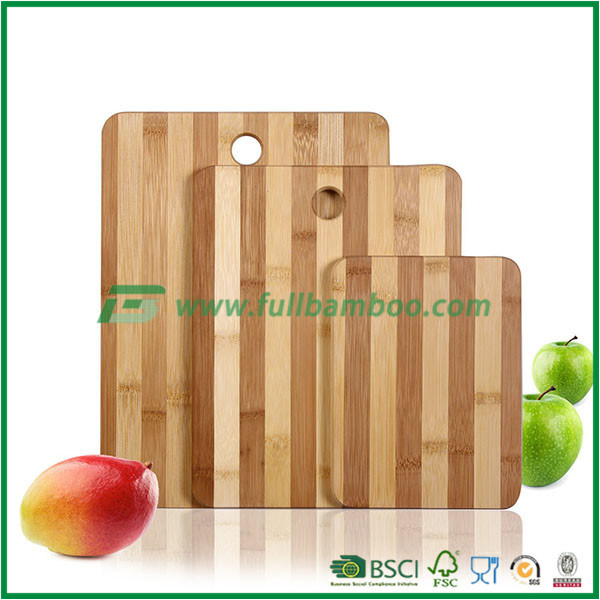 100% Natural Bamboo Chopping Cutting Board with Thumb Hole and Contrasting Stripes, 3-Piece Set, Food Preparation, Kitchen