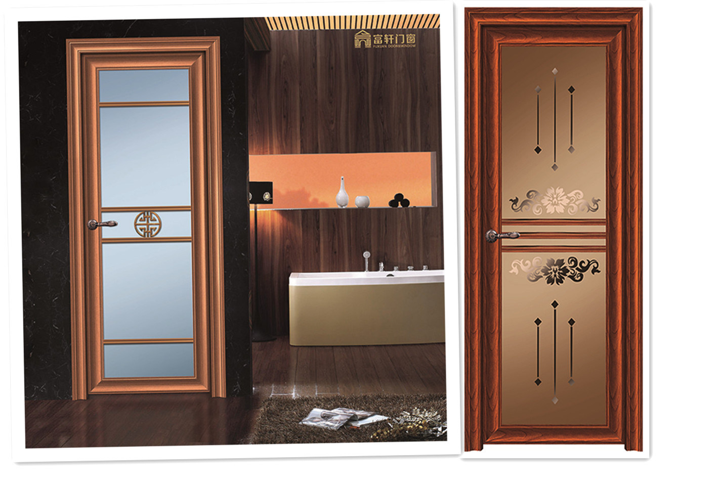 Portello di alluminio della stanza da bagno di colore di legno rosso