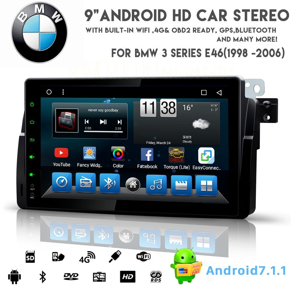 Android 8.1 voiture Vshauto huit coeurs DVD Audio pour BMW E46 1998-2006