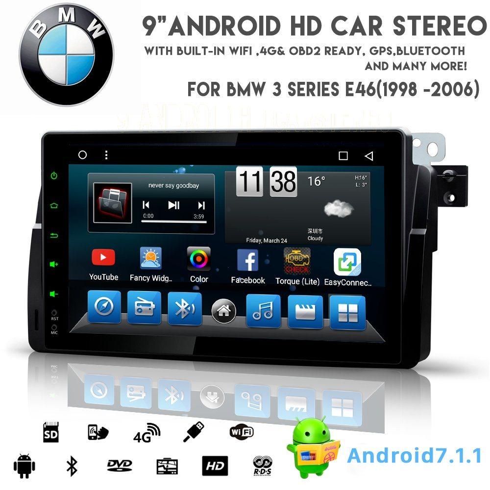 De ocho núcleos Vshauto Android 8.1 alquiler de DVD de audio para BMW E46 1998-2006