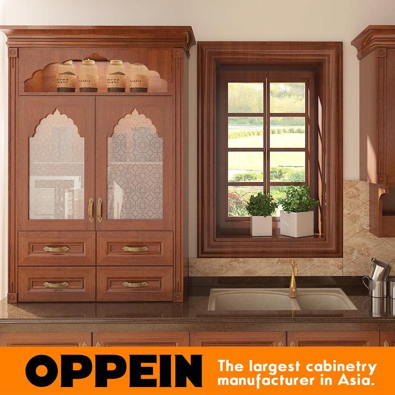 Foto de Estilo de la India Oppein PVC marrón en forma de L cocina ...