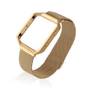 Para a faixa de relógio Fitness inteligente, Fitbit Blaze banda com estrutura metálica, Milanese bracelete de aço inoxidável, Grande