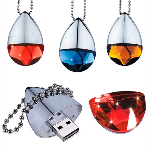 В раскрывающемся списке алмазов форма флэш-накопитель USB, красочные Drop USB флэш-диск, украшения ключ USB