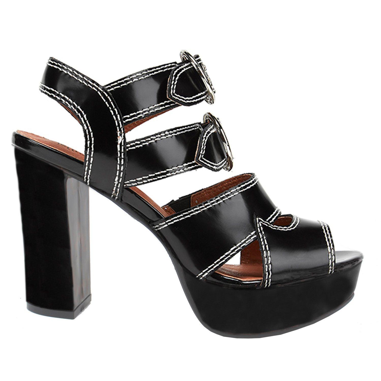 Frauen-Form-Absatz-Schwarz-beiläufige Sandelholz-Schuhe (LC686-11)