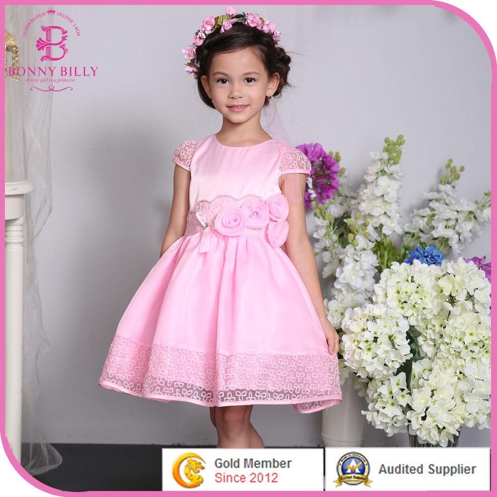 Satén rosa niña vestido de novia vestido de fiesta, los niños con ...