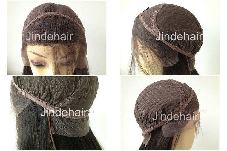 Stock virgen sin pegar el cabello humano encaje peluca delantera (JDH021)