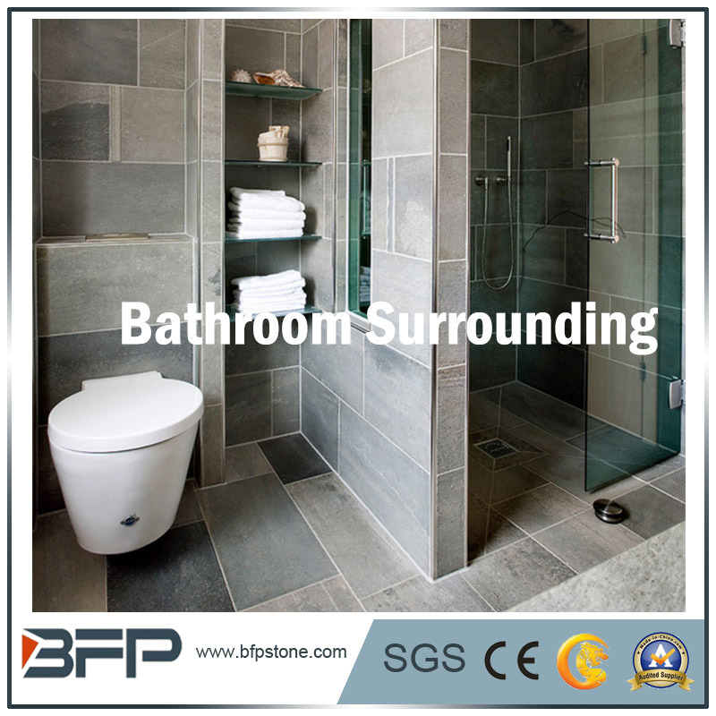 Kühles Art-Schwarz-Schiefer-Bad, das für das Badezimmer-Umgeben/Wand ...