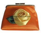 Flower Satin Ladies Kiss Lock Clutch Coin Bag with Gold Metal Frame