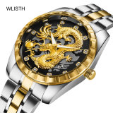 Wlisth 1853 Men′s Watches Golden Dragon Quartz Watch Men Luxury Stainless Steel OEM Mens Wrist Watch