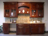 Cherry Solid Wood Kitchen Cabinet (JX-KCSW037)