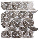 Flower Design Shell with Gray Wood Grain and Flower Marble Mosaic Tile