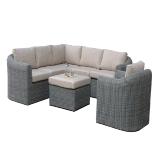 High Quality Round PE Rattan Outdoor Garden Corner Wicker Sofa