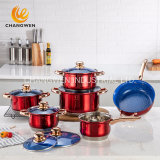 12 PCS Colourful Stainless Steel Cookware Set with Gold Plated Handle