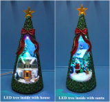 10′′led Christmas Tree Inside with House and 11′′led Christmas Tree Inside with Santa for Christmas Decoration