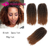 Synthetic 3lot 8''inch Kinky Curly Style Ombre Braiding Hair