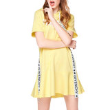Young Girl Yellow Letters Printed A-Line Skirt with Hood