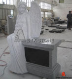 Light Grey Granite Sitting Angel Carving Headstone / Cemetery Monument