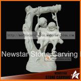 Swing Children Stone Carving Statues for Garden Park Nss033