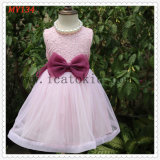 High Quality Bow Pink Little Girls Tulle Dress for Party Girls Dress