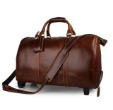 Good Quality Vintage Style Real Leather Trolley Luggage Duffel Bags