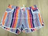Oeko-Tex Flat Waist Polyester Striped Lady Board Short Swimwear