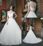 A-Line Sweetheart Floor Length Chiffon Beading Cap Sleeve Bridal Wedding Gown Wdo89