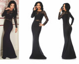 Women Evening Gown Elegant Lace Beaded Cocktail Evening Dress Long 2018 Simple Black Party Dresses