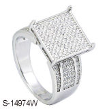 Fashion Jewelry Micro Pave Setting Rhodium 925 Silver Ring.