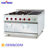 Heavy Duty Gas Range with 4-Burner and Lava Rock Grill