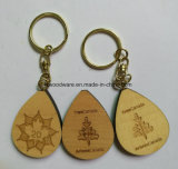 Solid Maple Wood Promotional Keychain with Logo Printing or Engraving