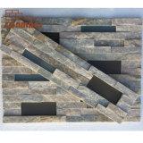 Glued Beige Slate Stacked Stone Wall Panels