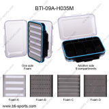 Double Faces Clear Lids 9 Compartments and Different Foams Medium Size Plastic 100% Waterproof Wholesale Fly Box 09A-H035m