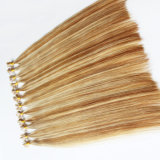 Wholesale Piano Color Natural Drawn Brazilian Hair Flat Tip Human Hair Extension