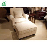 Transitional Arm Chair and Ottoman, Cream Tan Fabric Lounge Chair