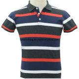 Factory Wholesale Men's Short Sleeve Customized Logo Striped Polo Shirt