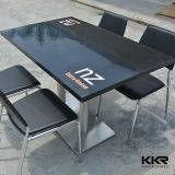 Unique Commercial Grade Black Solid Surface Restaurant Tables with Printed Logo