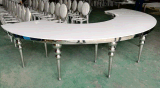 Dubai Round White MDF Top Banquet Moon Table with Big Screw