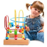 Children Educational Wooden Cartoon Insect Roller Track Wire Bead Maze Game Toy