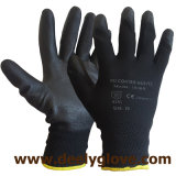 Black Polyester PU Gloves
