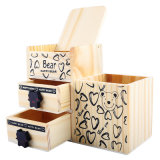 Fashion Wooden Bear House Drawer Pen Holder Pencil Storage Baby Music Box Toys
