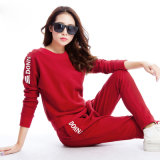 60% Cotton 40 % Polyester Sports Winter Red Sportwear Set Ladies