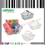 Double Handle Supermarket Metal Wire Shopping Basket