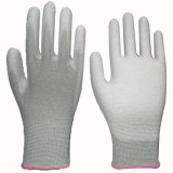 White PU Coated Glove Nylon Liner Knit Wrist