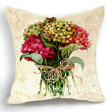 Beautiful Square Hydrangea Design Decor Fabric Cushion W/Filling