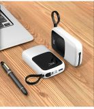 6000mAh Quick Charge Portable Power Bank Pocket Size with Built-in Cables LED Screen