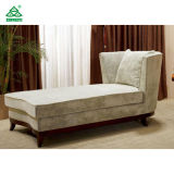 Modern Linen Fabric Wooden Lounge Chair, Grey Elegant Chair Lounge