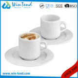 Wholesale Commercial White Porcelain Espresso Coffee Cup and Saucer
